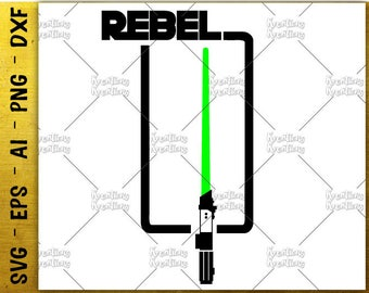 Rebel SVG she is fierce svg light saber SVG tee design cuttable cutting files Cricut Silhouette Instant Download vector SVG png eps dxf