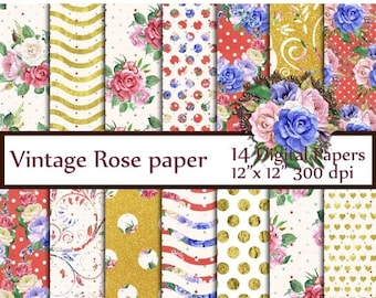 """40%SALE Roses Digital Paper Pack: """"FLORAL DIGITAL Papers"""" Vintage papers Shabby Chic papers Floral background decoupage papers Invitation ba"""