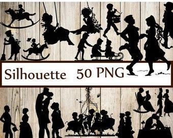 "40%SALE Vintage Silhouettes Clipart: ""SILHOUETTES CLIP Art"" Couple Silhouettes Children silhouettes Wedding silhouettes  Party Silhouettes C"