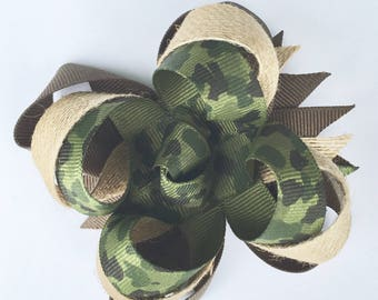 Camo bow - army bow - girl bow - stacked bow - hunting bow - girls hair bow