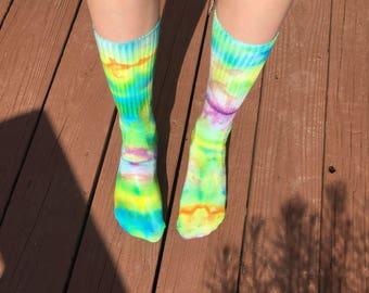 Tie Dye Crew Socks - Psychedelic Trippy Hippie Boho Festival Clothing