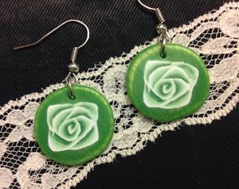 Polymer Clay Green Rose Earrings