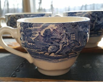 Staffordshire Ironstone Liberty Blue Vintage Ironstone Tea Cups and Saucers Old North Church