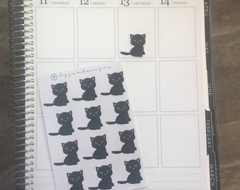 Black Cat Decorative Stickers - Planner Stickers, for use in EC LIFEPLANNER, diaries, journals, TNs, Traveler's Notebooks, calendars