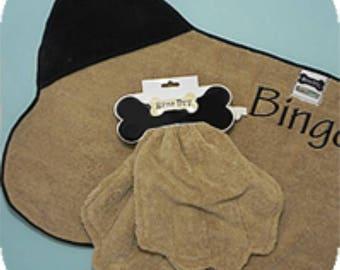 Pet towel, dog drying towel, monogrammed pet towel, dog towel, pet drying towel, dog towel and Mitts. Personalized pet towel.