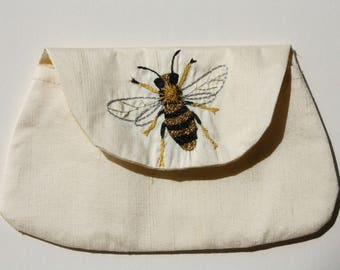 Handmade bag with an embroidered Bumblebee/make up bag/gift for her