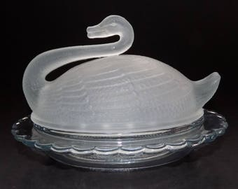 Sowerby Art Deco Blue Glass Swan Butter Dish