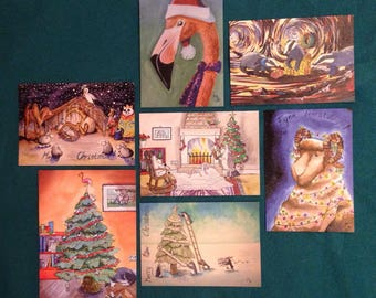 Christmascards set of 7 cards