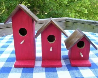 Cedar Birdhouses - Red - Decorative, Set of 3 - Garden, Porch, Deck