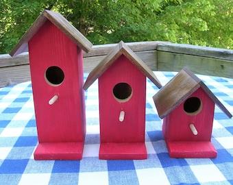 Cedar Birdhouses - Red - Decorative, Set of 3 - Garden, Porch, Deck