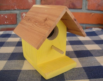 Cedar Birdhouse - Yellow, Small, Decorative - Garden, Deck, Patio, Spring Decorating