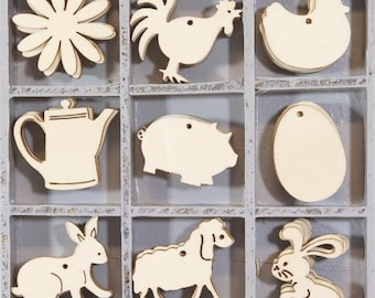45 Small Wooden FARMYARD ANIMALS Embellishments by cArt-Us (set 4)