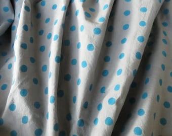 Grey And Blue Block Print Polka Dot Cotton Fabric
