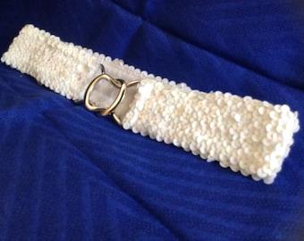 Vintage White Sequin Stretch Belt