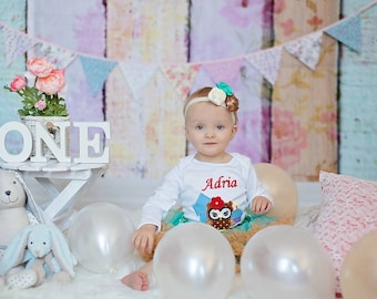 1st Birthday Baby One Piece Bodysuit White Short Or Long Sleeve Machine Applique Embroidered Bodysuit with Owl