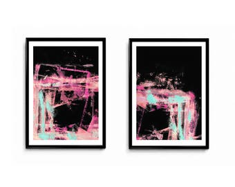 Printable Art, modern abstract, Industrial Decor, pink,black,fucia,peach ,turquoise, Colorful wall art, blue, artwork, Loft Art, set of 2