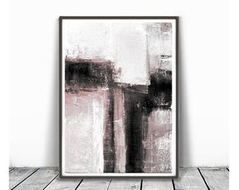 Printable Art,  Art Poster, Digital Download, Wall Decor,blush pink and white, modern abstract, scandinavian design, grey, white,black
