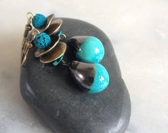 Bohemian earrings, drop turquoise ceramics, Czech glass, lava stone, turquoise chips, bronze metal.