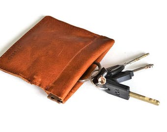 snappy pouch for keys key chain squeeze open pouch leather pocket flex pouch wallet boho small coin purse change purse leather fatherday