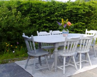 Large Extending Dining Table & 6 Chairs. Grey and White. shabby Chic.