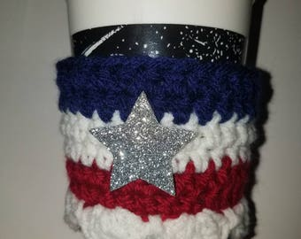 Cup cozy, 4th of July Cozy, Red white & blue cup cozy