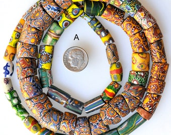 Long Strands of Mixed Venetian Trade Beads - Vintage African Trade Beads - Millefiori Beads - 28-32 Inch Strand