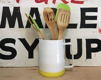 Modern Yellow and White Pitcher | Handmade Ceramic