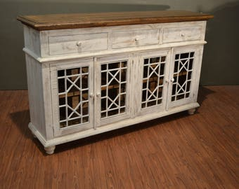Rustic Solid Wood Distressed White TV Console / China Cabinet / Bookcase / Sideboard