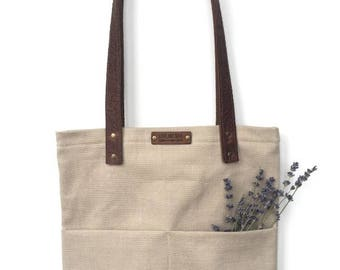 Tote Bag with Embossed Leather Handles - Beige