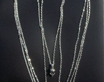 Set necklace necklace with coral beads (natural stones) and silver - 98 cm chains