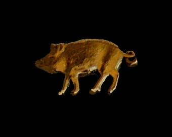 Piggy Wild Boar Forrest Animal - Bermuda Cut Coin Tie Tack/Pin Badge 1 cent Gold Plated