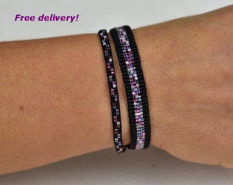 beadwoven bracelet set in black lilac