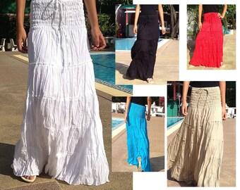 Long Cotton Skirt Dress Gipsy Summer Boho Hippie Floaty Fantasy Smocked