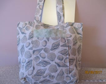 Seashell Tote Bag with Pockets and Magnetic Snap