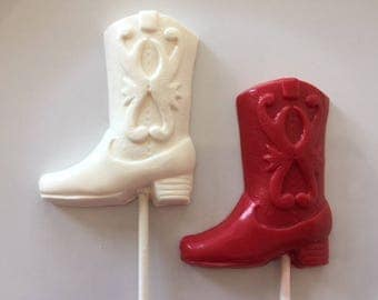 COWBOY BOOT CHOCOLATE Lollipops(12 qty) Rodeo/Country Hoedown/Birthday Party Favor/Wild Wild West/Cowgirl/Cowboy/Cowboys and Indians
