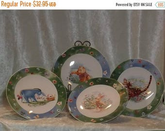 SALE Winnie The Pooh Plates, Set of 4 Plates, Disney Plates,Simply Pooh and Friends, Stoneware Plates,Luncheon Plates,Dessert Plates,Salad P