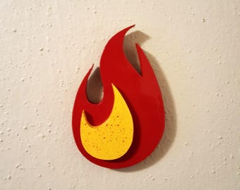 "Round Flame Wooden Fire Art Cutout - 7"" x 5"" Wall hanging Art - Wood Working, Custom, Handmade"