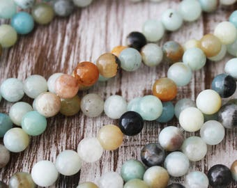 4mm rainbow amazonite, round beads, small gemstone beads, amazonite beads,