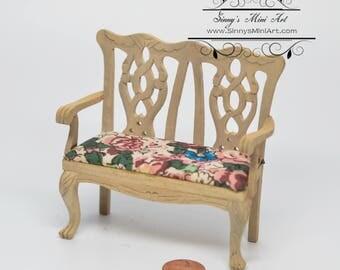 1:12 Dollhouse Miniature Unfinished Double Chair/ Miniature Furniture AZ GW069
