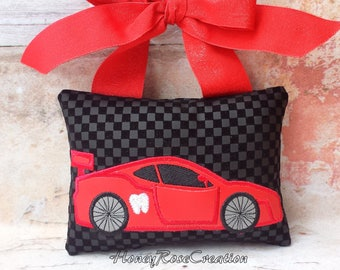 Car tooth fairy pillow.Embroidred car tooth fairy pillow.