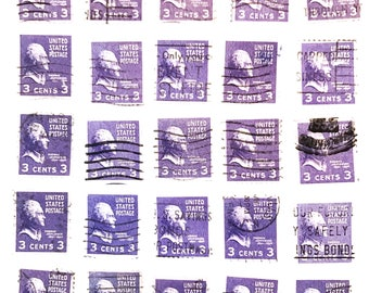 30 x purple used 1930s Thomas Jefferson 3 cents US postage stamps - for collage, stamp study, card making, scrapbooking, mail art