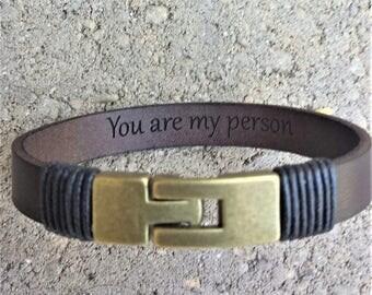 FREE SHIPPING-Hidden Message Bracelet,Bracelet For Men,  Men's Bracelet, Gift For Dad, Men Engraved Leather Bracelet, Custom Bracelet