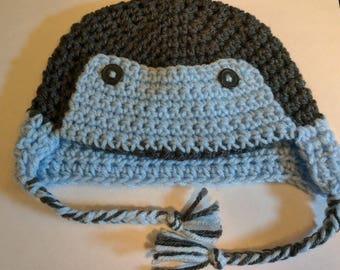 Crochet Trapper Hat/Blue/Pink/Winter Hat/Newborn Hat