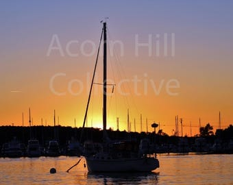 Sailboat Photography, Sunset Photography, Photo of sailboat in sunset, Silhouette of boats in harbor, Wall Art, Portsmouth, New Hampshire