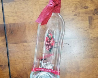 Slumped Melted Clear Three Olives Pomegranate Vodka Bottle Serving Bowl with Red Ribbon