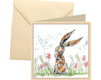 Hare greetings card, blank card, greetings card, birthday card, hare card, hare birthday, note card, thank you card, hare, rabbit card