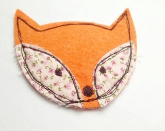 Fox brooch, free motion embroidery, textile brooch, contemporary brooch, stitched fox, fabric fox brooch, fox pin, the Boho Button