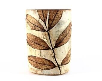 Bodil Marie Nielsen - Stoneware vase with leaves from Denmark.