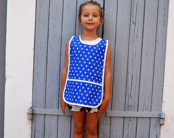 Kids 4-6 Years Unisex Art Smock 100% Cotton Blue with White Stars Painting Apron Tablier Filles Garçon Enfant Maternelle Ecolier Bleu Etoile