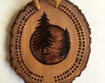 Pine Tree Cribbage Board | handmade, woodburned, custom, card game
